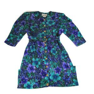 Vintage 80s SL Fashions Floral Belted Dress Sz.10P